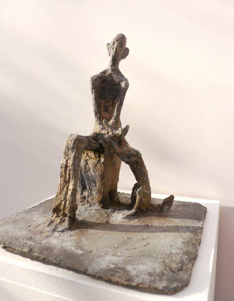 Alter Mann mit Hund, Bronze, 21,5 x 19 x 19,5 cm