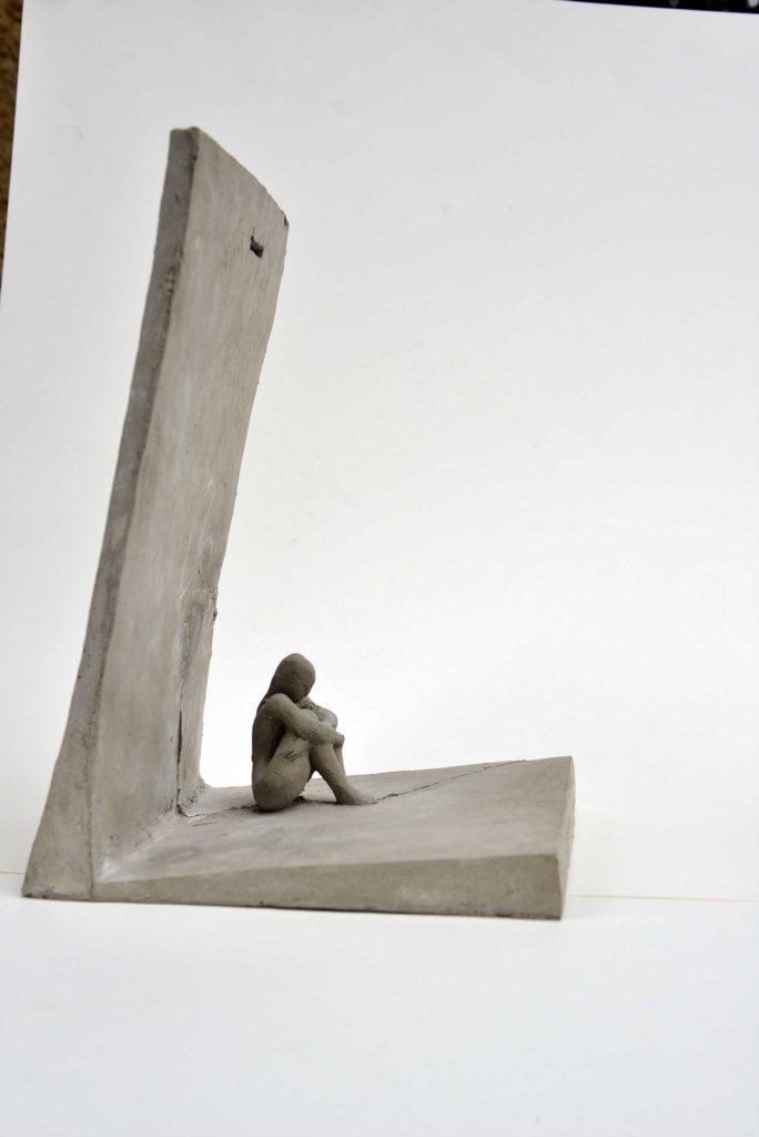 Beklemmung, Betonguss, 24 x 16 x 19 cm