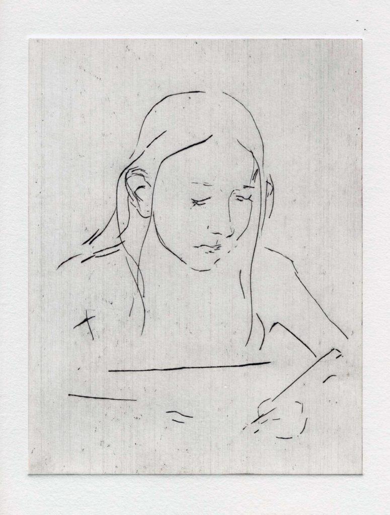 Franzi, Kaltnadelradierung, 28 x 24 cm