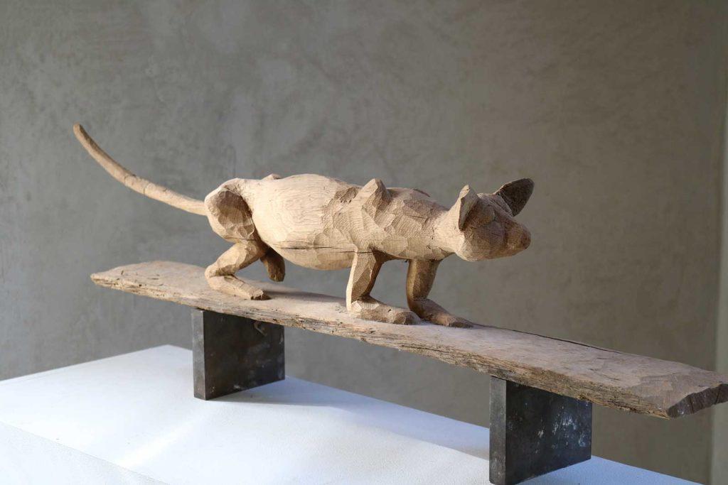 Katze, Eiche, 18 x 91,5 x 12 cm