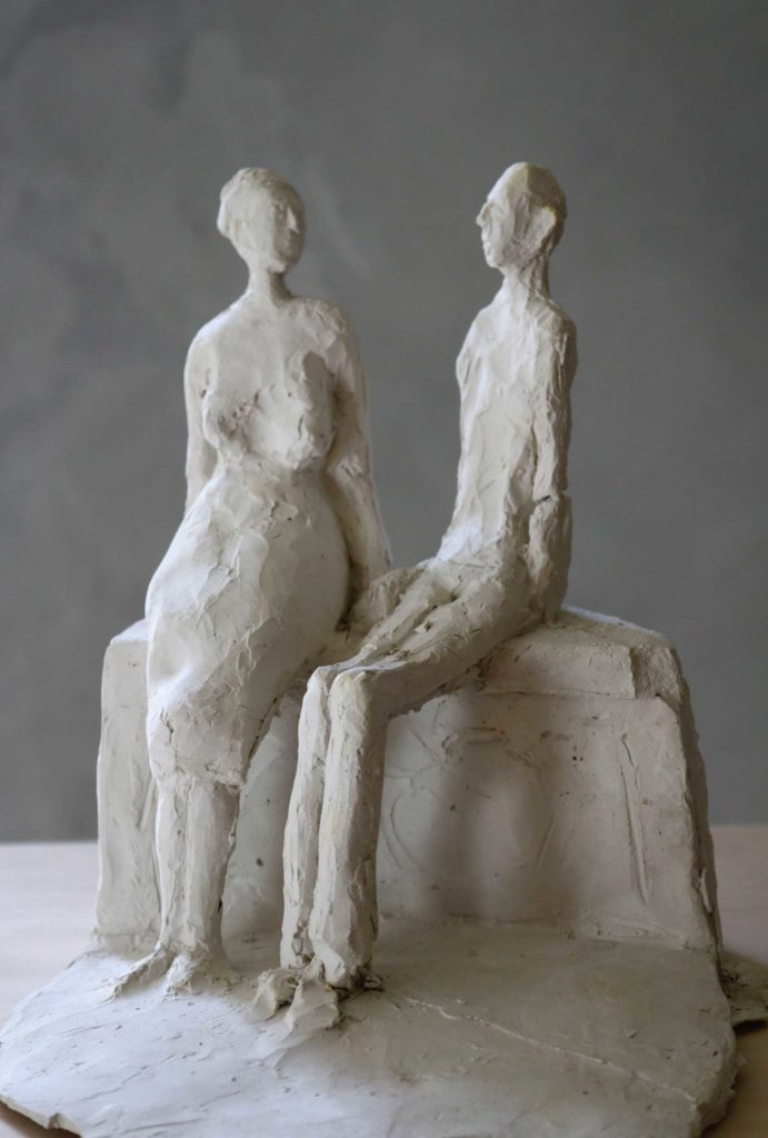 Altes Paar, Gips, 19 x 17 x 19 cm