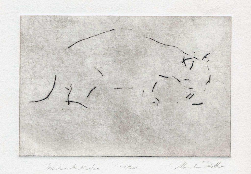 Trinkende Katze, Kaltnadelradierung, 13 x 18 cm